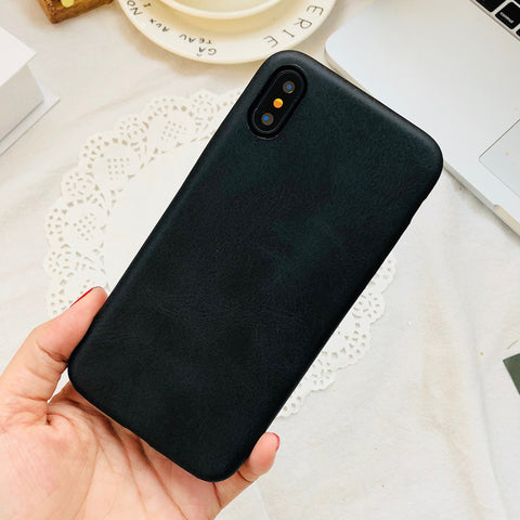Smooth Black Leather iPhone Case
