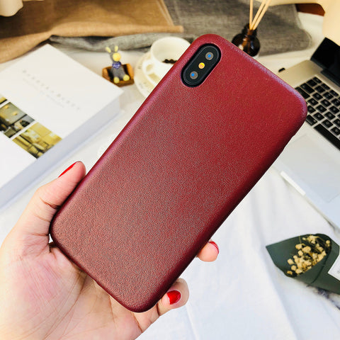 Dark Red Leather iPhone Case