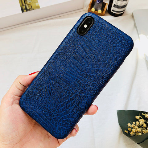 Dark Blue Leather iPhone Case