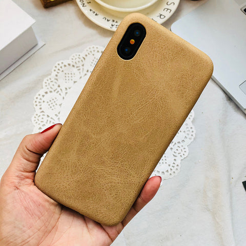 Beige Leather iPhone Case