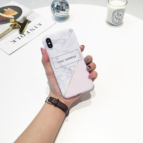 Chic Happens Marble White iPhone Case