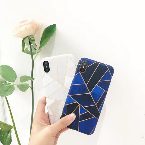 Blue black Geometry Tiles iPhone Case
