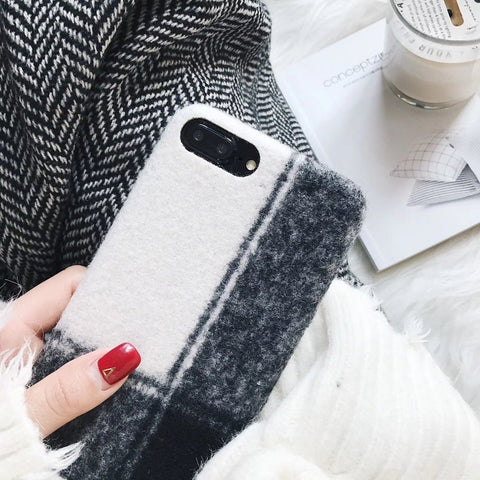 Provrase Premium - Plaid Fabric Phone Case for iPhone 8 Plus