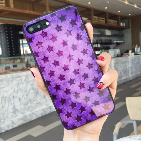 Mauve Stars - Tempered Glass Hybrid iPhone Case