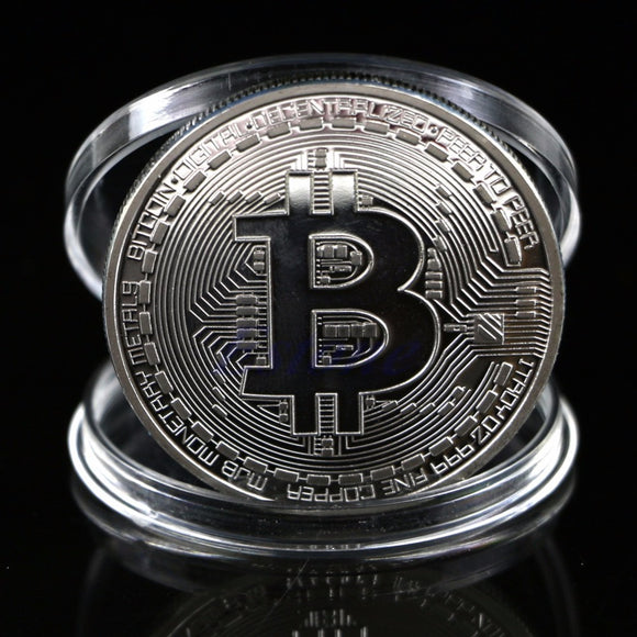 1Pc Silver Plated Bitcoin Coin Collectible