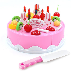 Pretend Play Fruit Cutting Birthday Cake Kitchen Food Toys Cocina De Juguete Toy Pink Blue Girls Gift for Children