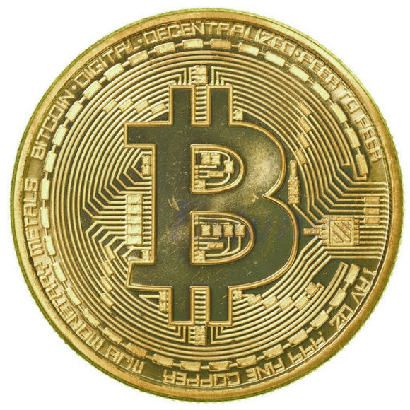 RARE Gold Plated 1oz Bitcoin Coin Collectible Gift