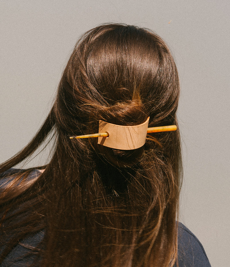 Leather Hair Pin - Natural