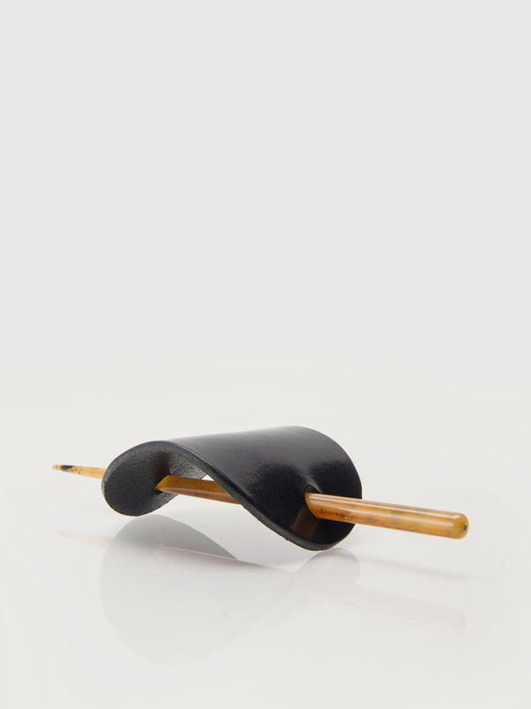 Leather Hair Pin Large - Black
