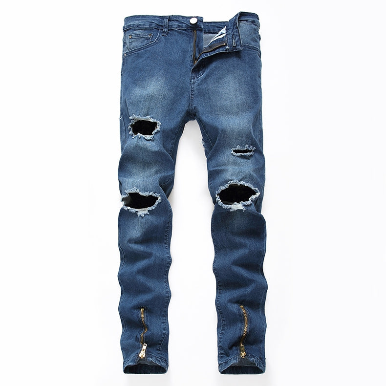 Slim Distressed Zipper Jeans