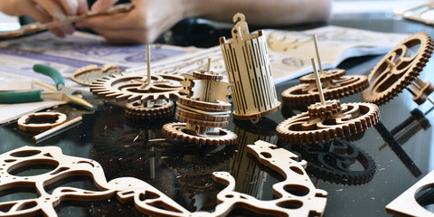 Mechanical clock gears unassembled