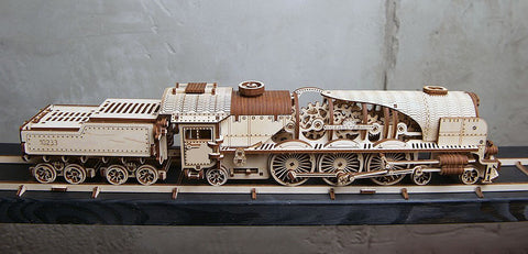 The Voltain steam express train building kit with tracks on display