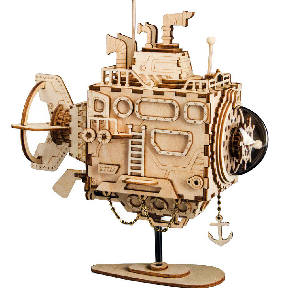 Submarine music box model building kit