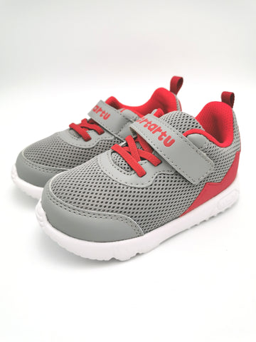 Grey & Red Mesh Sneakers