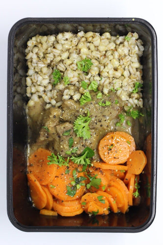 Beef Braise, Pearl Barley + Honey Carrots 432 Cal - P 35.4g - C 43.9g - F 12.3g