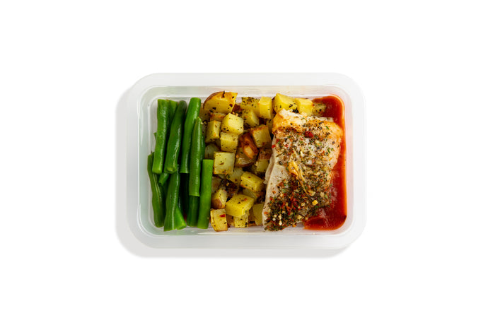 Grilled Market Fish, Rosemary Potatoes + Provencal Beans 192 Cal - C 20.2 - P 22.6 - F 1.6