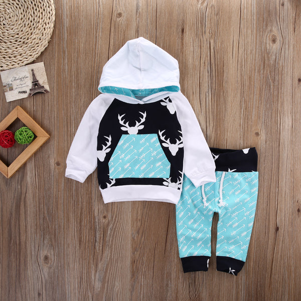 Baby Girls Boys Reindeer Hooded Set