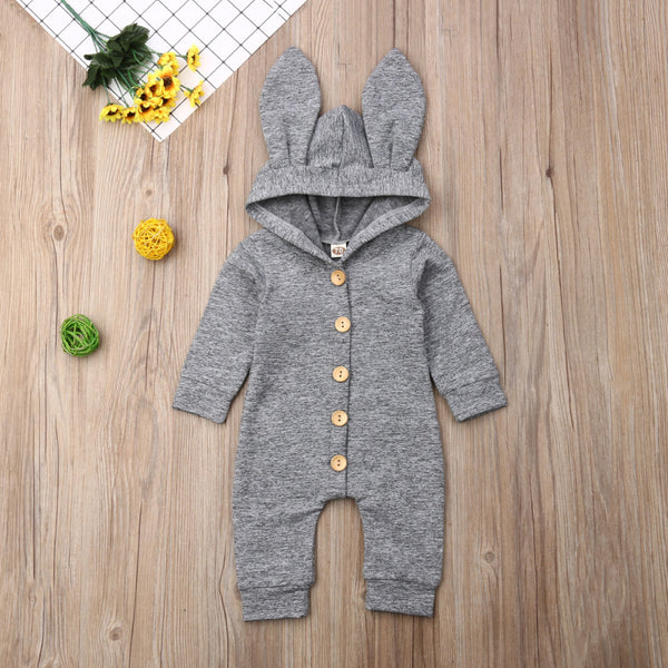 Baby Girl Boy 3D Ears Hooded Warm Jumpsuit