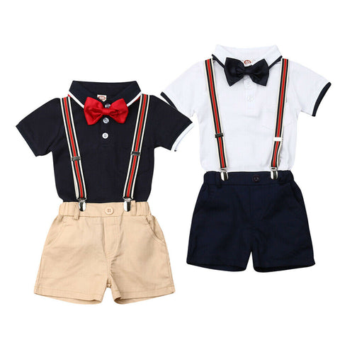 Baby / Toddler Bowknot Short-sleeve Shirt and Solid Overalls Gentleman Suit Set