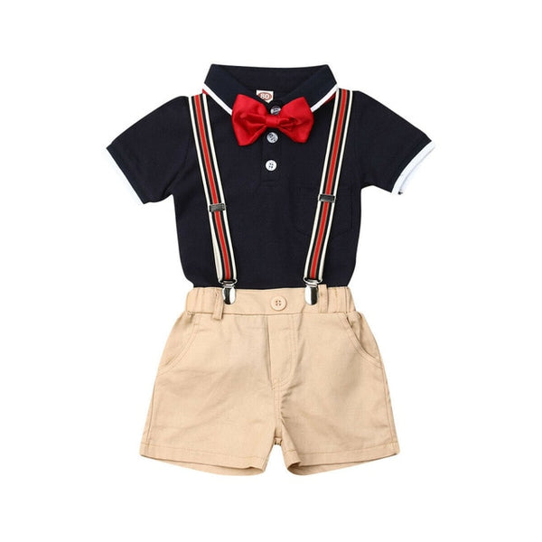 Baby Toddler Bowknot Short-sleeve Shirt and Solid Overalls Gentleman Suit Set