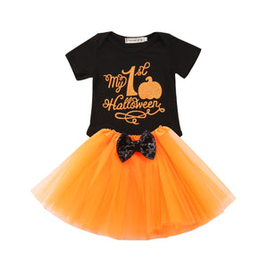 Baby Girl First Halloween Romper Bow Tulle Set