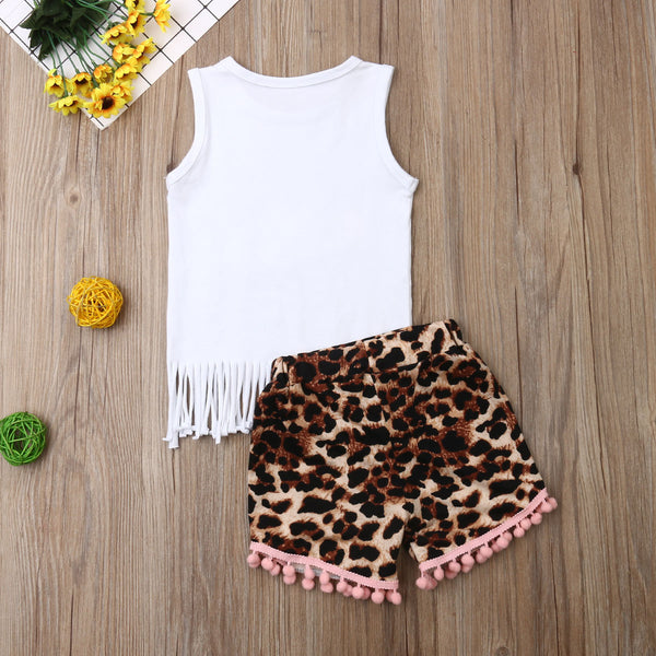 Baby Girl Summer Set Cute Leopard
