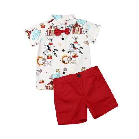 Wonderful Circus Short-sleeve Shirt and Shorts Set for 1-5 Years Boy