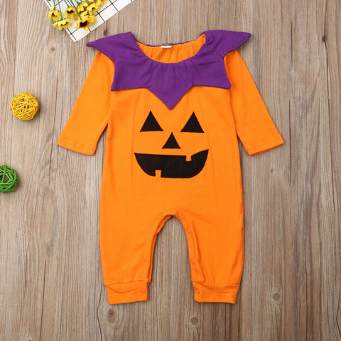 Baby Girl Boy Halloween Orange Jumpsuit