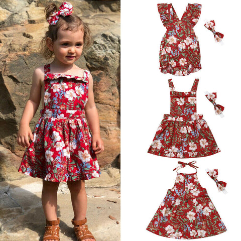 Sleeveless Flower Romper Sister Matching Dress Set