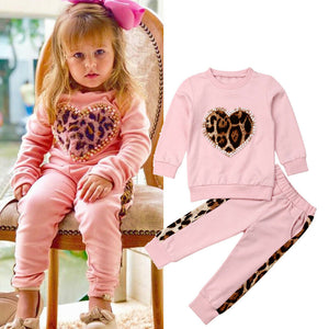 Girl Baby Girl Pink Leopard Heart Tracksuit Set