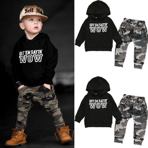 Boy Baby Boy Hooded Wow Top Set