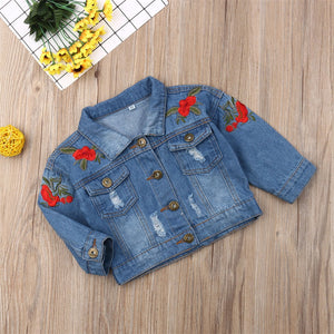 Kid Baby Girl Embroidery Denim Casual Jacket