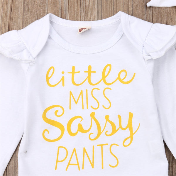 Baby Girls Romper Jumpsuit Set Miss Letters