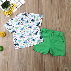 Dinosaur Green Shorts Summer Set