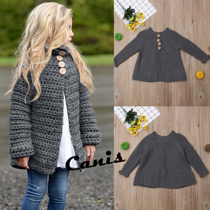 Girl Baby Girl Gray Knitted Cardigan Coat