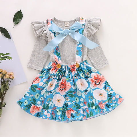 Girl Baby Girl Floral Gray Skirt Set