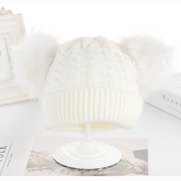 Baby Boy Girl Cute Knitted Solid Pompom Decor Hat