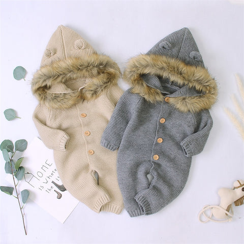 Baby Boy Girl Cute Solid Ear Decor Hooded Fur Jumpsuit