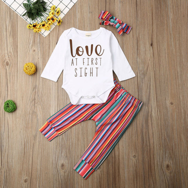 Baby Girl Letters Striped Pants Set