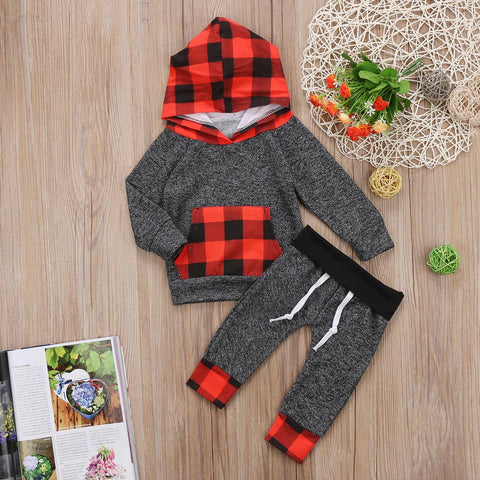 Boy Girl Baby Boy Girl Xmas Hooded Plaid Set