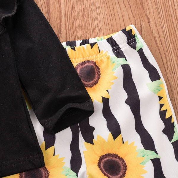 Girl Baby Girl Black Ruffle Top Sunflower Pants Set