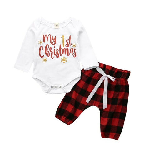 Baby Boy Girl First Christmas Red Plaid Romper Set