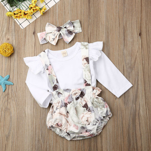 Baby Girl Long Sleeve Flower Shorts Set