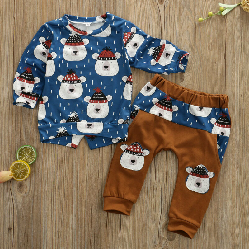 Baby Boy Winter Bear Xmas Long Sleeve Set