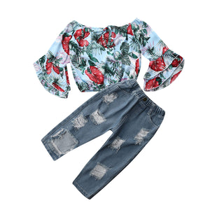 Girl Baby Girl Floral Top Jeans Denim Set