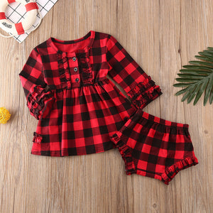 Baby Girl Clothes Ruffle Plaids Long Sleeve Set