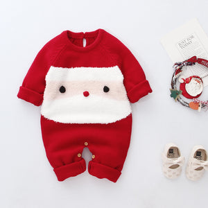 Baby Girl Boy Santa Knit Long-sleeve Jumpsuit