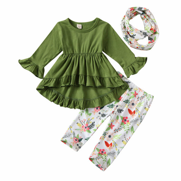 3-piece Girl Flounced Green Top and Floral Pants Set