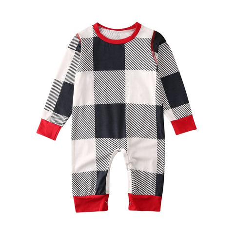 Baby Boy Girl Xmas Christmas Tree Long Sleeve Plaids Jumpsuit