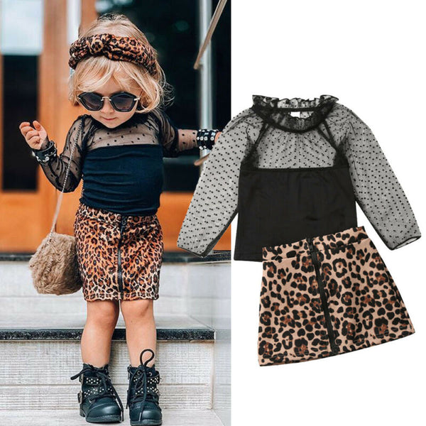 Girl Baby Girl Black Lace Top Leopard Skirt Set